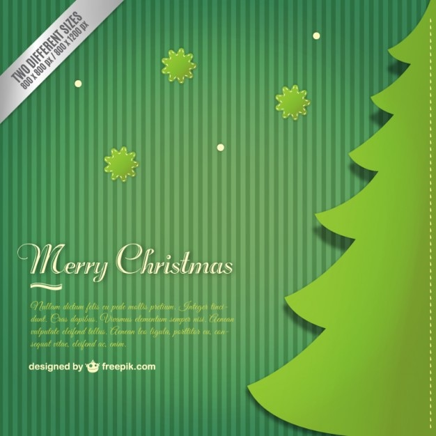 Fond Vert Avec Un Arbre De Noël Vecteur gratuit