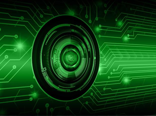 Fond vert concept futur technologie cyber œil Vecteur Premium