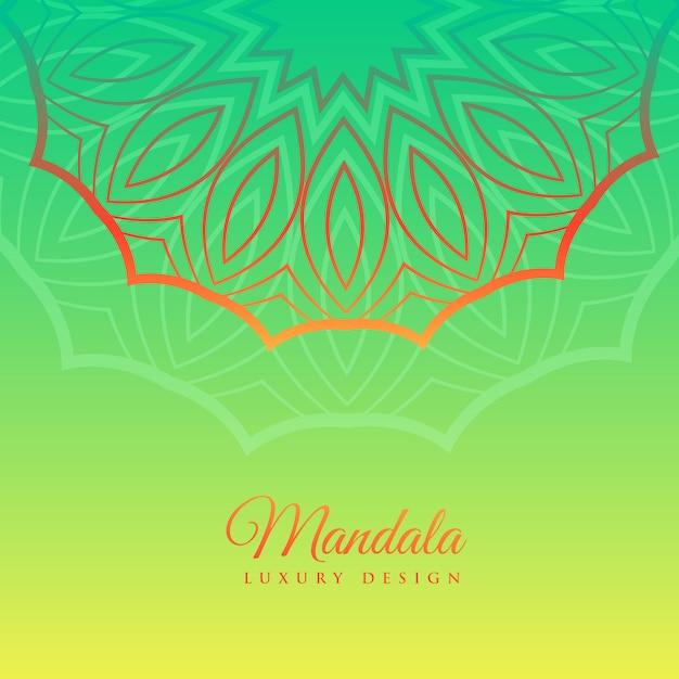 Fond vert avec décoration de mandala Vecteur gratuit