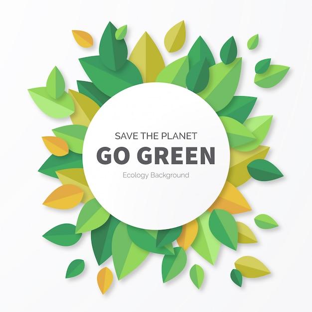 Fond vert avec des feuilles Vecteur gratuit