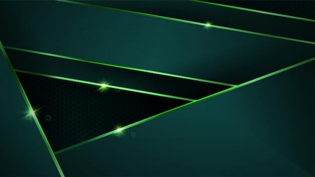 Fond Vert Foncé De Luxe Avec Des Formes Abstraites Métalliques Vert Doré Vecteur Premium