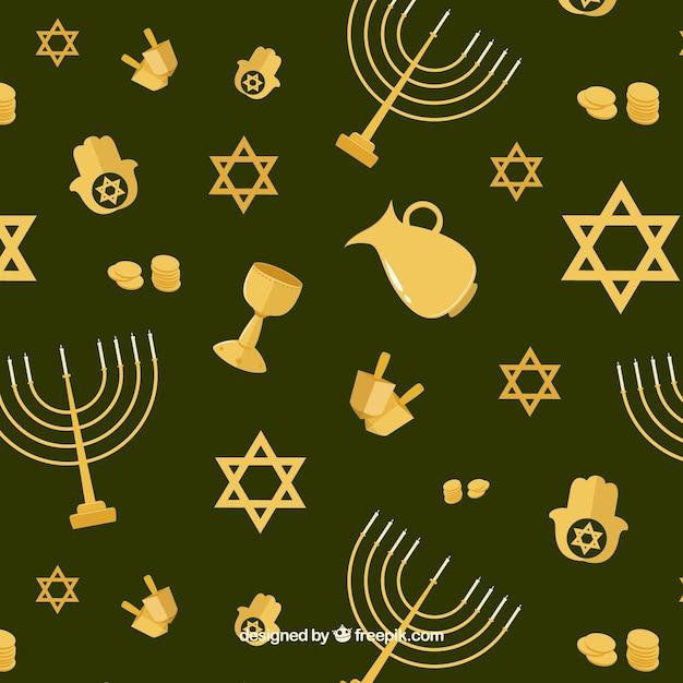 Fond vert avec des objets hanukkah d'or en design plat Vecteur gratuit