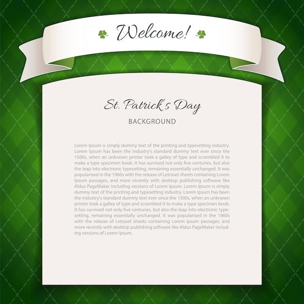 Fond vert st patricks day avec espace de copie Vecteur Premium