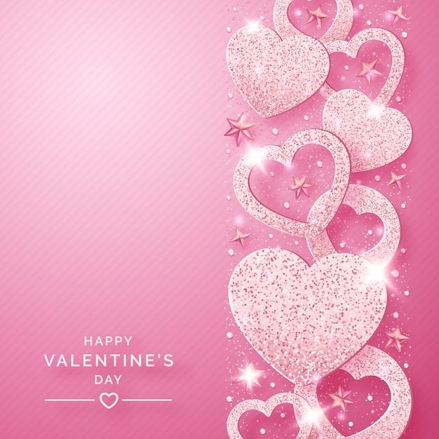 Fond Vertical De Saint Valentin Avec Des Coeurs Roses Brillants Et Des Confettis Vecteur Premium