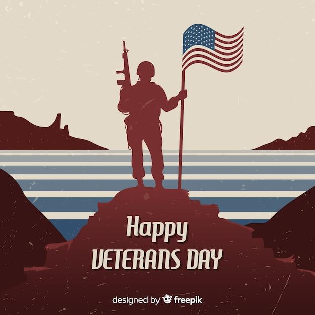 Fond de vétéran avec soldat et drapeau Vecteur gratuit
