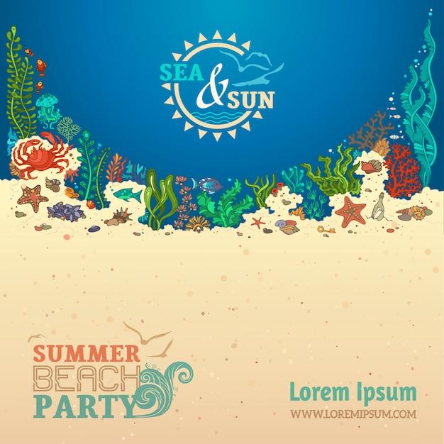 Fond De Vie De Mer D'été. Coquilles, Algues, Poissons, étoiles De Mer, Méduses, Moules Et Crabe. Vecteur Premium