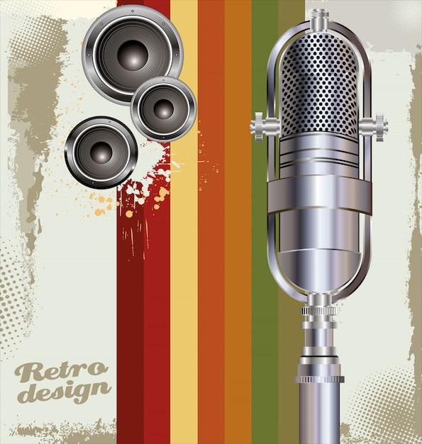 Fond avec vieux microphone Vecteur Premium