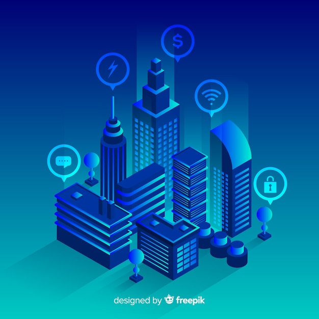 Fond de ville futuriste isométrique Vecteur gratuit