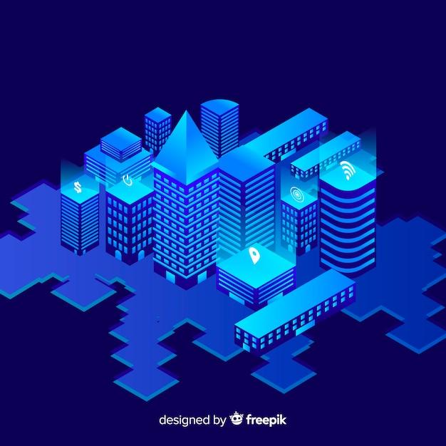 Fond de ville intelligente isométrique Vecteur gratuit