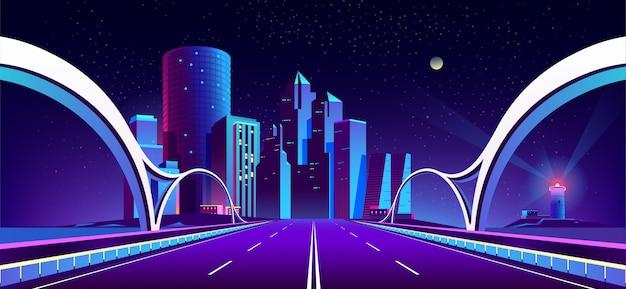 Fond avec la ville de nuit dans les néons Vecteur gratuit