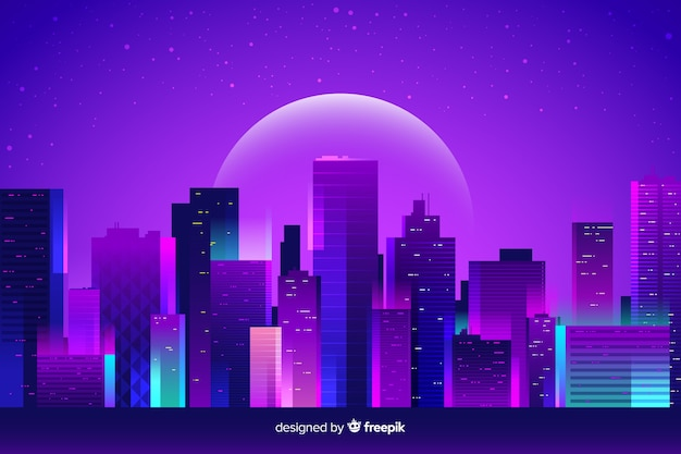 Fond de ville de nuit futuriste Vecteur gratuit