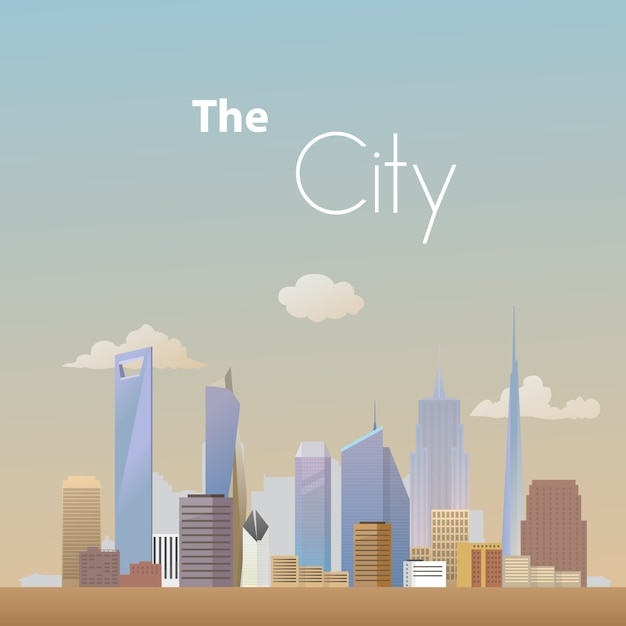 Fond de ville paysage vecteur Vecteur Premium