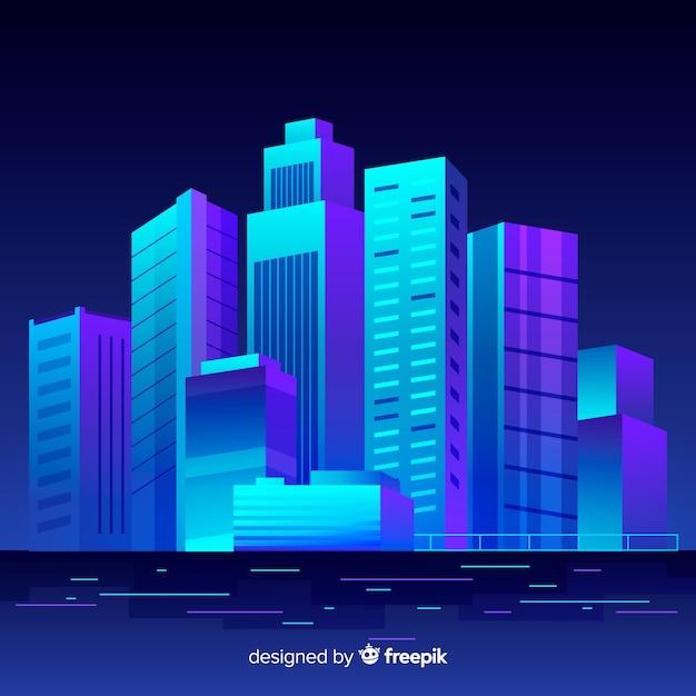Fond de ville plat nuit futuriste Vecteur gratuit