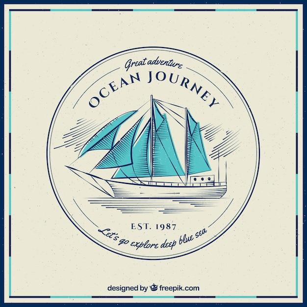Fond vintage de bateau avec des voiles bleues Vecteur gratuit