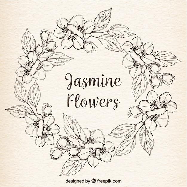Fond vintage avec une couronne de jasmin à la main Vecteur gratuit
