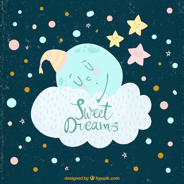 Fond vintage de lune dormant dans un nuage Vecteur gratuit