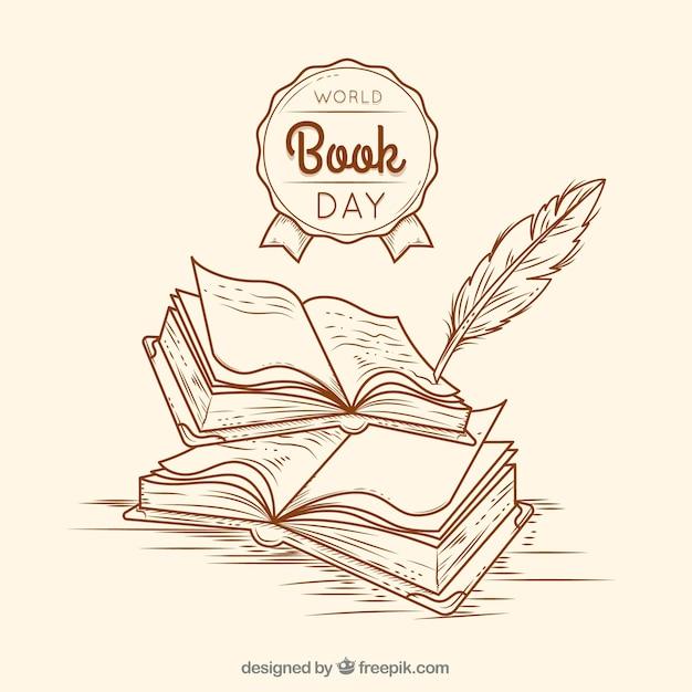 Fond vintage pour la journée du livre mondial Vecteur gratuit
