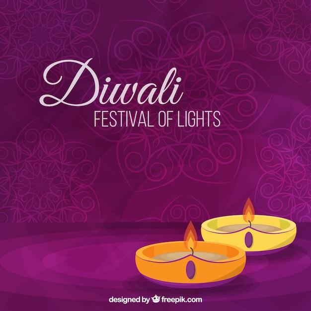 Fond violet avec des bougies de diwali Vecteur gratuit