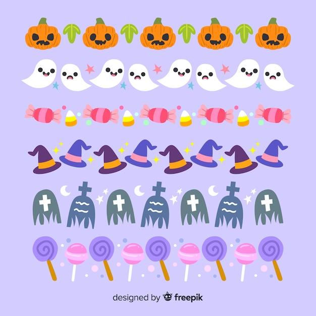 Fond violet avec collection de frontière d'halloween Vecteur gratuit