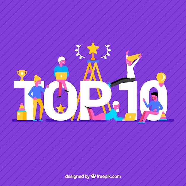 Fond violet du top dix avec des gens Vecteur gratuit