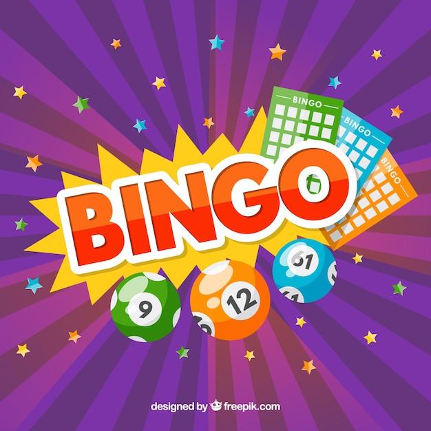 Fond violet avec des étoiles et des éléments de bingo Vecteur gratuit