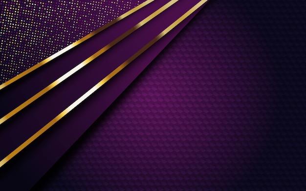 Fond Violet Foncé De Luxe Avec Bande Dorée Et Paillettes Vecteur Premium