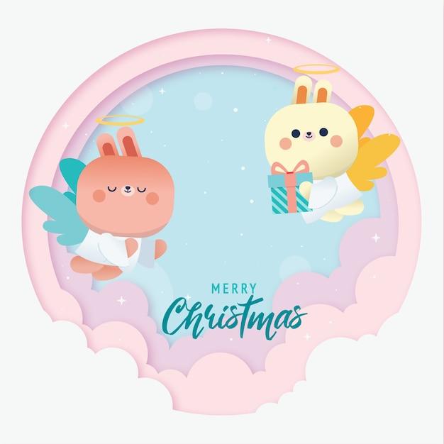 Fond De Voeux Joyeux Noël Avec Lapin Mignon Cupidon Vecteur Premium
