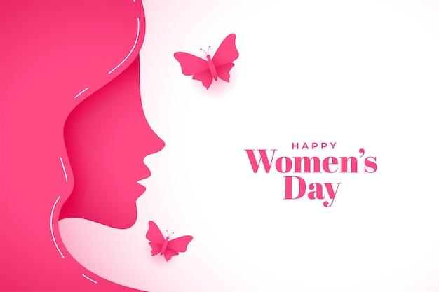 Fond De Voeux Pour La Journée Des Femmes Heureux Style Papier Vecteur gratuit