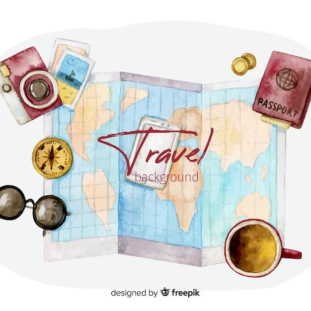 Fond de voyage aquarelle Vecteur gratuit