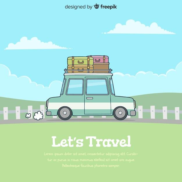 Fond de voyage dessiné à la main Vecteur gratuit