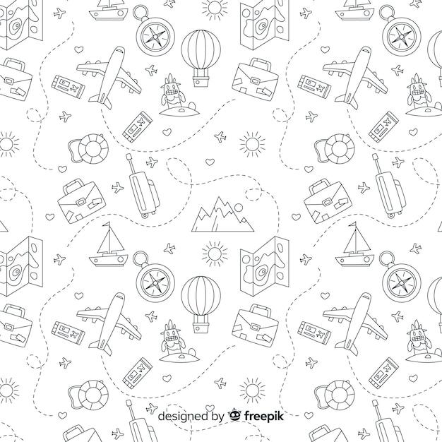 Fond De Voyage Doodle Vecteur gratuit