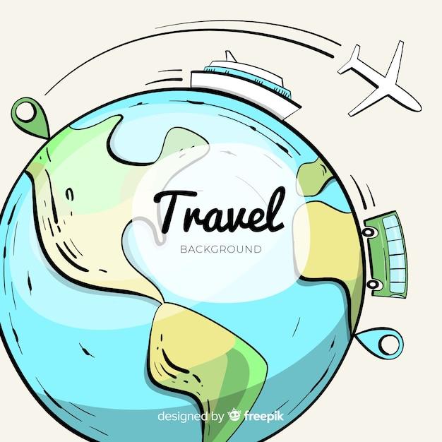 Fond de voyage globe dessiné à la main Vecteur gratuit