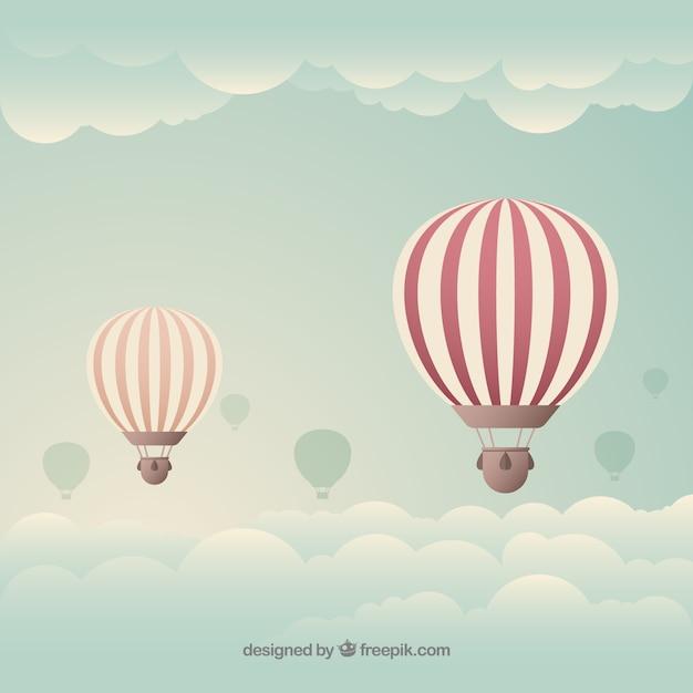 Fond de voyage de montgolfière Vecteur gratuit