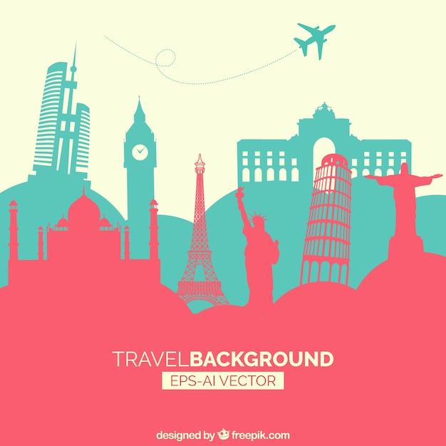 Fond voyage avec monuments Vecteur gratuit