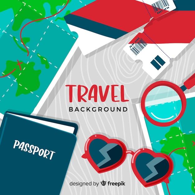 Fond de voyage pour les billets et les passeports Vecteur gratuit