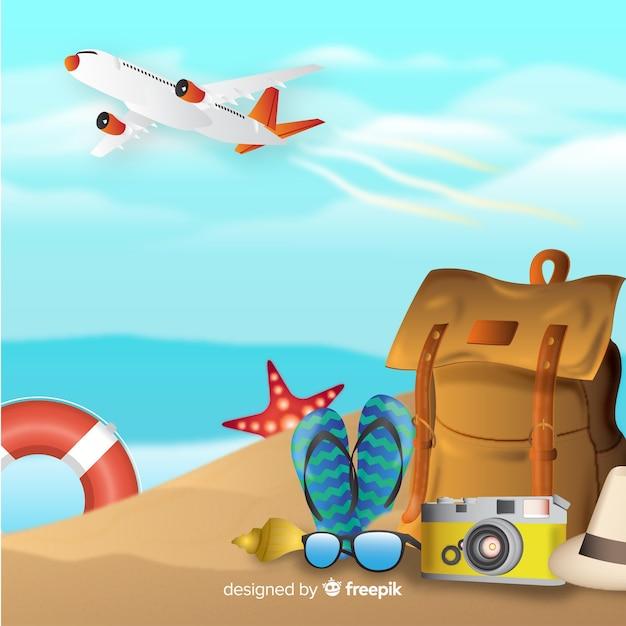 Fond De Voyage Réaliste Vecteur gratuit