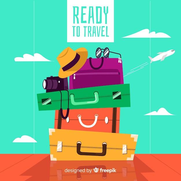 Fond de voyage de tas de bagages Vecteur gratuit