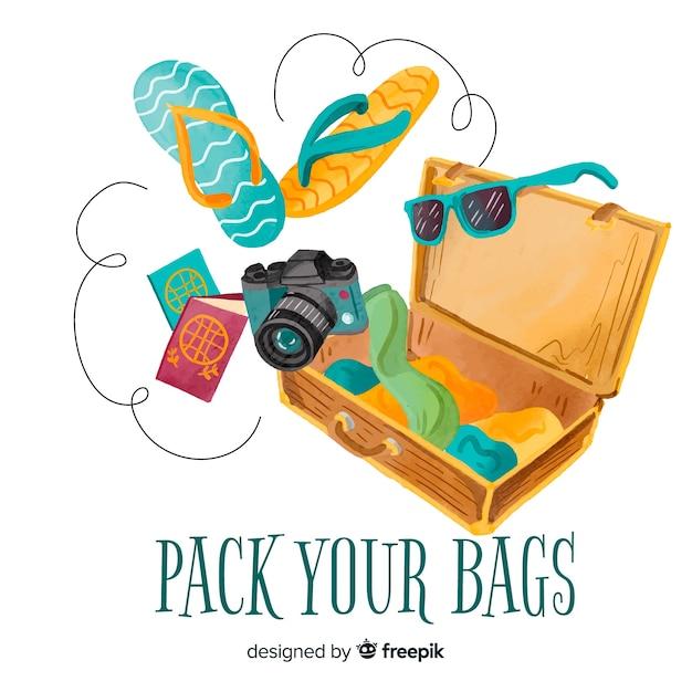 Fond de voyage valise ouverte dessinés à la main Vecteur gratuit