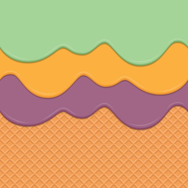 Fond de wafer sans soudure et dégoulinant de crème répétable vectoriel Vecteur Premium