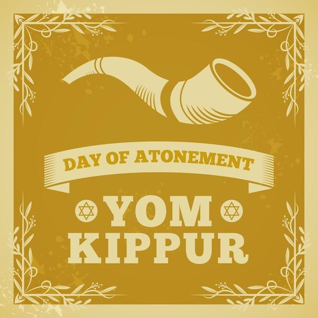 Fond De Yom Kippour Vintage Avec Corne Vecteur Premium