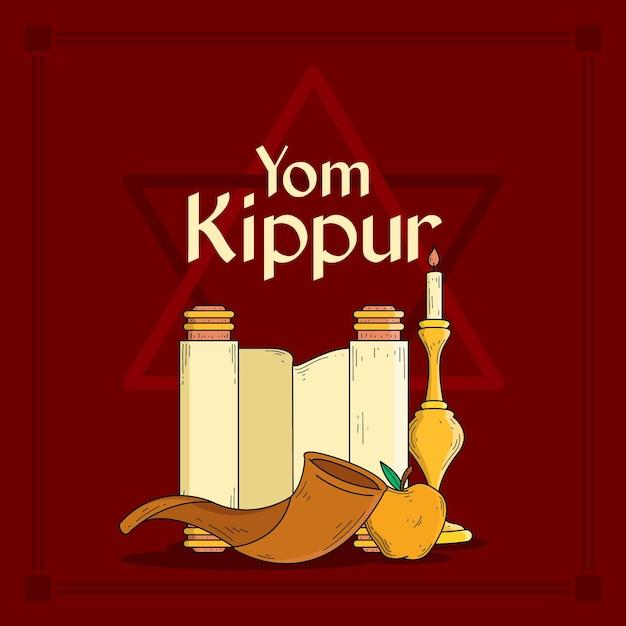 Fond De Yom Kippour Vintage Avec Corne Vecteur gratuit