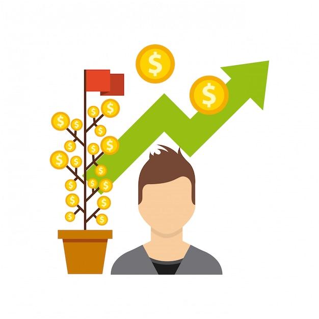 Fonds de croissance des entreprises des icônes plats Vecteur Premium