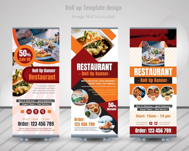 Food roll up banner design pour restaurant Vecteur Premium