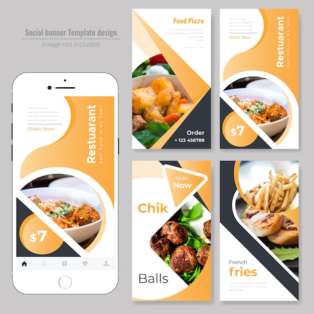 Food social web banner for restaurant Vecteur Premium
