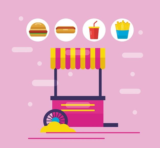 Food Trucks Dans Le Style Plat Vecteur gratuit