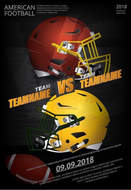 Football américain affiche illustration vectorielle Vecteur Premium