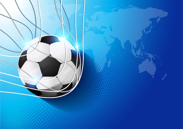 Football dans le but Vecteur Premium