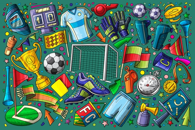 Football, Doodle De Football Mis Illustration Vectorielle Vecteur Premium