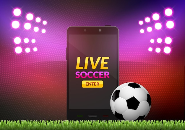 Football De Football Mobile. Match De Jeu De Sport Mobile. Jeu De Football En Ligne Avec Application Mobile En Direct. Vecteur Premium