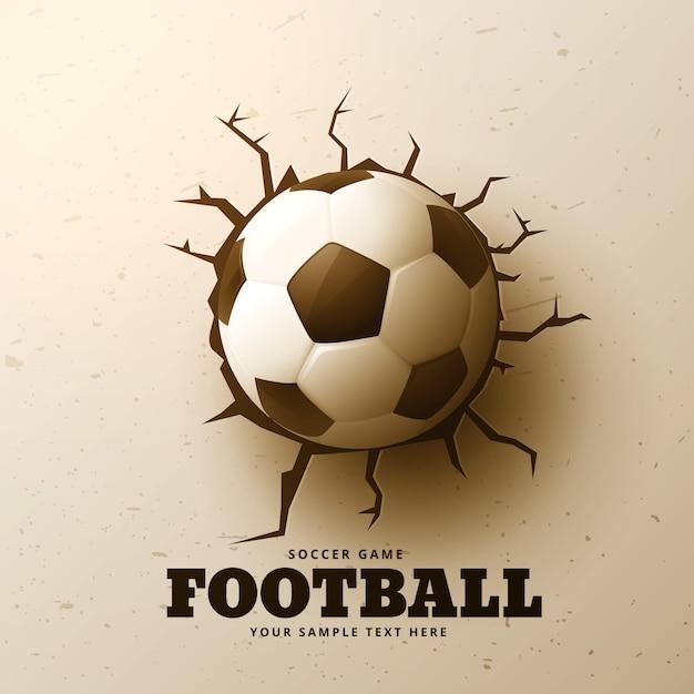 Le football frappe le mur avec des fissures Vecteur Premium